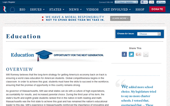 Romney's Education Portion of the Website