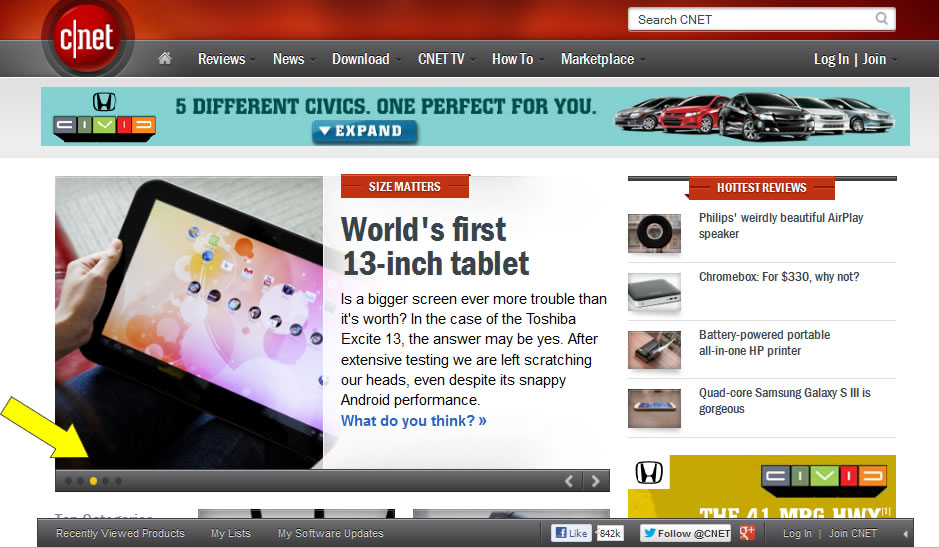 CNET's Main Page with Rotating Banner