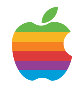 Single element Rainbow Colored Apple logo