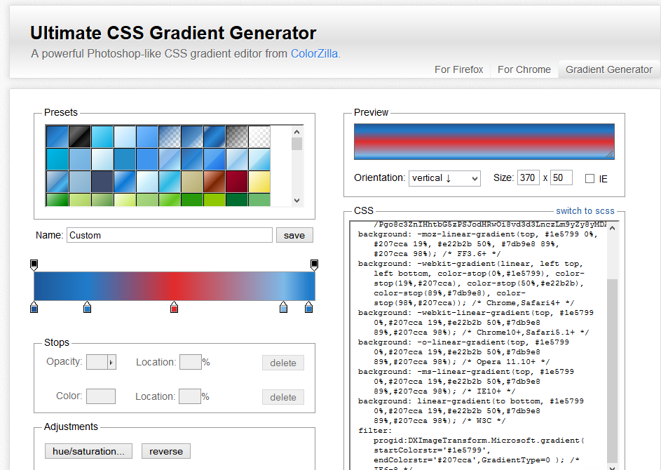 CSS3 Colorzilla Gradient Maker