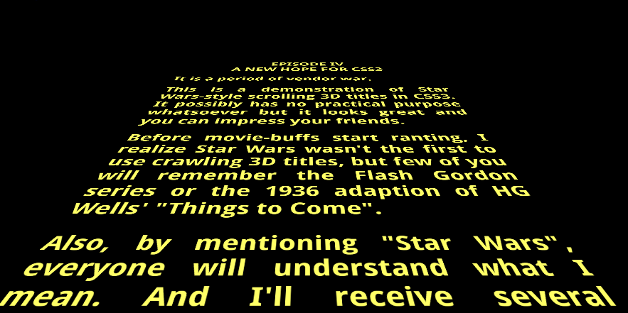 CSS Star Wars Scroll Text